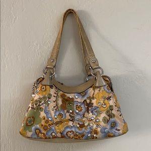 KVZ satin floral rhinestone studded shoulder bag
